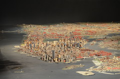 Queens Museum of Art | The Panorama of the City of New York | long, tight view up Manhattan, including the twin towers of the World Trade Center, the Empire State Building, the Brooklyn, Manhattan, & George Washington Bridges; Statue of Liberty