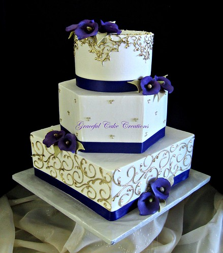 Elegant Ivory and Gold Wedding Cake with Purple Calla Lilies - a ...