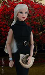 Metal chic on scarlet background (Tonia & Jack) Tags: black dress body handmade metallic barbie collection accessories glimmer platinum basics louboutin pivotal dollsalive