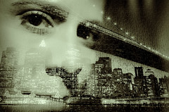 Mission Completed (lichtbildung (off and sad)) Tags: portrait woman newyork brooklyn eyes doubleexposure manhattan flash puzzle brooklynbridge augen frau blitz trier lightroom doppelbelichtung fa31mm silverefexpro pentaxk5