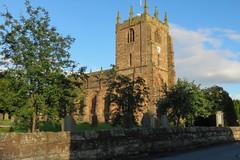 Bunbury parish church, Cheshire - 1 (nican45) Tags: tower clock church stone canon evening cheshire july powershot gravestone churchyard bunbury 2016 cheshiremerseyside sx700hs 15072016 15july2016