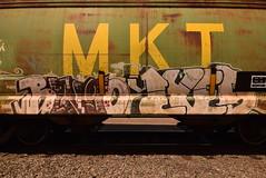 BINGO LYES (TheGraffitiHunters) Tags: graffiti graff spray paint street art colorful freight train tracks benching benched bingo lyes mkt hopper