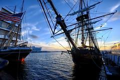 Tall Ships in San Diego (` Toshio ') Tags: toshio sandiego california starofindia tallship mast sunset flag americanflag america sandiegoharbor harbor ship clouds
