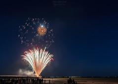 Fireworks at Bassin d'Arcachon 2 ((Virginie Le Carr)) Tags: nuit night feuxdartifice feuxartifice show fireworks lumire light color colors colorful couleurs outside extrieur bassindarcachon 14juillet ftenationale ponton pontoon lune moon