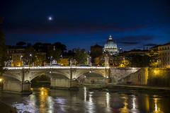 La Cupola dal Lungotevere (Andrea Di Prima) Tags: roma rome cupola sanpietro tevere sunset night river fiume travel viaggio luci lights luna moon italia italy