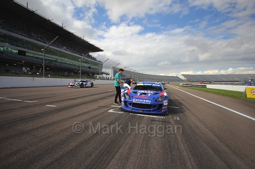 Will Burns in the Ginetta GT4 Supercup at Rockingham, August 2016
