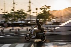 Scooter (kmmanaka) Tags: japan nagasaki evening settingsun bicycle tram