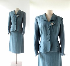 1940s Dateline London teal wool flannel suit, from Sportshire (Small Earth Vintage) Tags: smallearthvintage vintageclothing vintagefashion womensfashion suit 1940s 40s sportshire teal blue woolflannel womenssuit skirtsuit