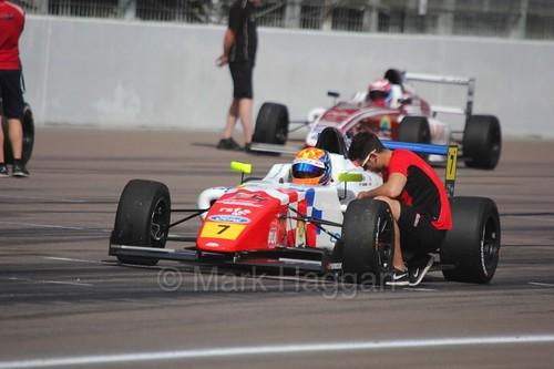 Alex Quinn on the British F4 grid at Rockingham, August 2016