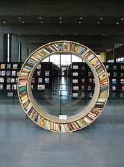 Round Bookshelf (Lean Stone Book Club) Tags: bookshelf books creative reading