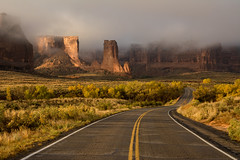 Courthouse Wash (Thankful!) Tags: road desert arches archesnationalpark utah morning mist fog clouds goldenhour warmlight