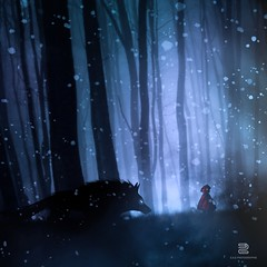 Le Petit Chaperon rouge (S.D.G Photographie) Tags: littleredridinghood petitchaperonrouge chaperon rouge red little girl loup wolf dark sombre neige snow froid frozen foret forest silhouette