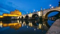 Castel Sant'Angelo (Jimmy C W Lu) Tags: castelsantangelo    italy rome bridge architecture arc    night  blue historic