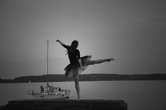 IN DEEPEST SILENCE (JONE VASAITIS) Tags: blackandwhite bw woman water girl night dark dance nikon explore explored