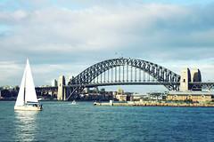 Sydney Bridge (foldedmemos) Tags: travel bridge blue sea house holiday water ferry boat opera peace yacht sydney arc australia calm adventure balance