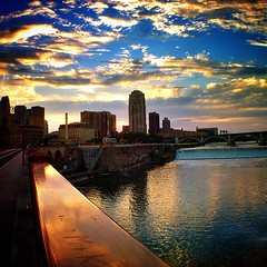 Mighty Mississippi @ Stone Arch (carl.lacey2) Tags: instagramapp square squareformat iphoneography uploaded:by=instagram foursquare:venue=4a0ec47df964a520ed751fe3 river city minneapolis skyline sky sunset sun sunshine bridge building dam clouds skyscraper water downtown mississippi mississippiriver