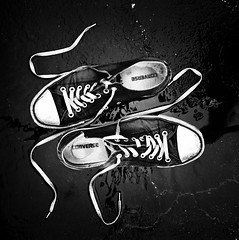 (sam luther) Tags: blackandwhite white black reflection 6x6 film water rain analog mediumformat square shoe mono highcontrast sneakers d76 hasselblad converse squareformat laces chucktaylor strongcontrast 80mm hp5plus selfdeveloped carlzeiss hasselblad500cm planar2880 samluther