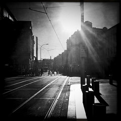 And the sun burnt away the years (Albion 'a whole lotta busy' Harrison-Naish) Tags: street light sunset shadow people urban blackandwhite bw monochrome architecture square blackwhite chinatown noiretblanc sydney australia squareformat nsw newsouthwales haymarket bnw iphone explored mobilephotography iphone4 johnslens iphoneography hipstamatic blackeyessupergrainfilm streetphotogoraphy