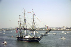 Sailing Frigate USS Constitution, July 4th, 2002 (FireChief2) Tags: cruise history boston harbor aerial constitution 4thofjuly oldest warship oldironsides 21gunsalute secnav