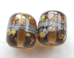 Honey Bee Barrels (Glittering Prize - Trudi) Tags: brown glass beads handmade pair barrel bee honey lampwork artisan gbuk glitteirngprize