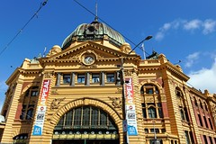 Main Facade of Flinders Street Station | Melbourne's Landmark Structure (I Prahin | www.southeastasia-images.com) Tags: city heritage clock station train crossing transport central tracks tram australia melbourne pedestrian historical cbd commuters flindersstreet terminus swanstonstreet