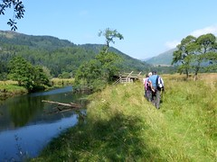 Ramblers at River Balvag, Strathyre (luckypenguin) Tags: scotland strathyre ramblers walk path river balvag stirling trossachs