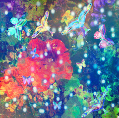 In the Cosmic Butterfly Garden (virtually_supine) Tags: kreativepeopletreatthisno147challenge abstractartangel77 fractal fantasy vivid bright pointsoflight butterflies nasturtium flowers photomanipulation digitalartwork layers textures creative photoshopelements9mac paintdaubs accentuatededges diffuseglow hss sliderssunday