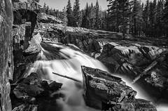 Middle Fork San Joaquin River below Garnet Lake (speedcenter2001) Tags: outdoor hiking backpacking backcountry mountains wilderness anseladamswilderness highsierra sierranevada sierra johnmuirtrail nik silverefexpro2 blackandwhite monochrome nd1000 tripod waterfall