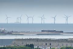 Windfarm - Liverpool Bay (alancookson) Tags: fujixt1160716 windfarm turbine liverpoolbay newbrighton perchrock fort