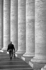 Vatican city (idlike2sleep) Tags: nikon fm2 fm2n analog film kodak trix 400tx minolta dimage 5400 city rome italy umbrella geometry vatican