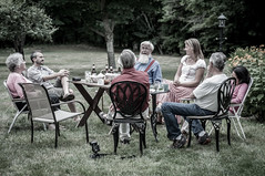 Happy hour on the back lawn (LucienTj) Tags: roger jamie dad unclerichard auntlaverne family conversation wilton graywood happyhour