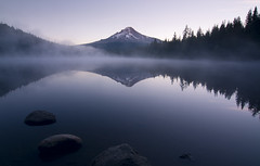 Early Rise *Explore* (gwendolyn.allsop) Tags: lake water reflection morning mirror mountain mt hood trillium mist sunrise oregon