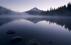 Early Rise (gwendolyn.allsop) Tags: lake water reflection morning mirror mountain mt hood trillium mist sunrise oregon