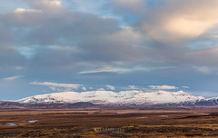 Moutain in remote area on Iceland at sunset (Kanonsky) Tags: snow beautiful clouds cold europe explore hills horizon ice iceland journey landscape mountain natural nature river road sky sunset travel way winter