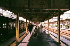 Morning/Platform (yasu19_67) Tags: morning platform hankyu sunlight shadow atmosphere photooftheday film filmism filmphotography analog nikonl35ad2 35mm fujifilm xtra400 expiredfilm osaka japan