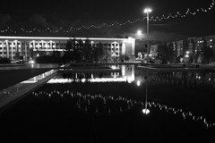 (Full moon) (Kirill & K) Tags: magnitogorsk city night moon bw centralsquare lights reflection fontain backlight