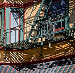 San Francisco North Beach Light and Color ... (sswj) Tags: historicbuildings victorian architecture northbeach shadows color lifht composition sanfrancisco northerncalifornia california naturallight availablelight existingllight dslr fullframe nikon d600 nikkor28300mm streetphotography scottjohnson fireescape neighborhood abstractreality grantavenue architecturaldetail