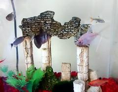 Tetra Aquarium. (dccradio) Tags: lumberton nc northcarolina robesoncounty fish tetra whiteskirttetra serpae redeyetetra xraytetra blackskirttetra aquarium fishtank redgravel greenery plasticplants mossball columns brick ruins cord wall ornaments decorations swimming