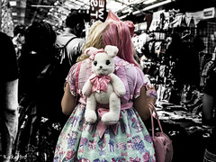 Shopping with my bunny (Kakeart) Tags: kawaii girl bunny ears bow cakes costume cospaly wig pink yellow rucksack imagine dramatic colours cuddly toy fluffy cute nikon 5500 hyper japan 2016 festival japanese