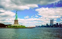 New York Harbour (gwpics) Tags: usa landscape american statueofliberty terrorism landmark newyork airship twintowers unitedstatesofamerica 911 nyc history manhattan america skyline alqaeda libertyisland heritage historic northamerican old us unitedstates wtc worldtradecenter