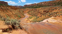 View from above waterfall - Keet Seel Canyon - Navajo National Monument (Al_HikesAZ) Tags: park camping arizona usa southwest monument water creek waterfall stream mud nps native hiking indian pueblo tribal canyon hike trail national american service dine navajo nationalparkservice anasazi hopi reservation ancestral keet quicksand seel dineh puebloan puebloans navajonationalmonument keetseel nativeamercan azhike alhikesaz ancestralpuebloans hisatsinom kawestima lenaytupqa flutecanyon fluteclan kookopwungwa iswungwa