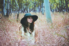 (Megan Wilson Photography) Tags: pink blue canada black green fall girl grass hat forest winnipeg