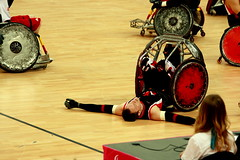 Floored. (mrstaton) Tags: canada sport canon stadium paralympics london2012 wheelchairrugby fabienlavoie eos1000d