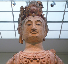 Bodhisattva, probably Avalokiteshvara (Guanyin), with detail of head
