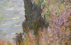 Monet, Cliff Walk at Pourville, with detail of cliff face