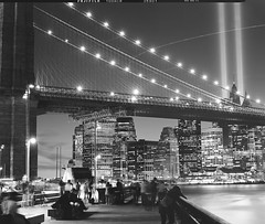 Tribute in Light, Fuji Neopan Acros 100 (Shawn Hoke) Tags: nyc newyorkcity longexposure bw film cityscape fuji manhattan worldtradecenter 911 brooklynbridge 4x5 lf september11 largeformat lowermanhattan tributeinlight acros brooklynbridgepark ilfordddx fujineopanacros september11tribute epsonv500 blackandwhitecityscape fujinepoanacros100 toyo45aii 911tributeinlight schneider210mmf56 nprpictureshow shawnhoke believeinfilm cityscapeonfilm