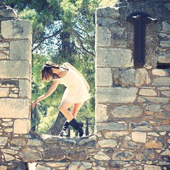 Sophia (Fufurasu) Tags: portrait ballet woman girl beautiful wall daylight dance athletic jump crossprocessed ballerina pretty dress arms dancing legs boots availablelight toycamera ruin dancer greece portraiture stonewall elegant fitness toned leap fit sundress leotard abandonedbuilding filmlook analogcolor toycameraanalogcolor