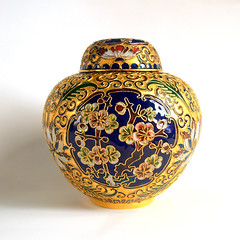 ORNATE CHINOISERIE CHIC Vintage Cloisonne Blue Enamel & Metallic Gold Floral Botanical Lidded Ginger Jar Vase Flower Pattern Urn (Aces Finds Vintage) Tag