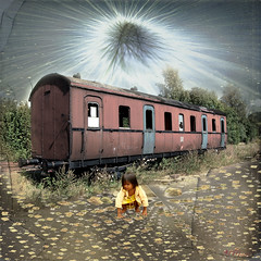 child in a new light (Mara ~earth light~) Tags: new old light texture love photoshop heaven child heart symbol spirit earth soul creativecommons newlight railwaywagon mara~earthlight~