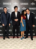 John Travolta, Salma Hayek, Benicio Del Toro, Oliver Stone Savages photocall held at The Mandarin Oriental London, England